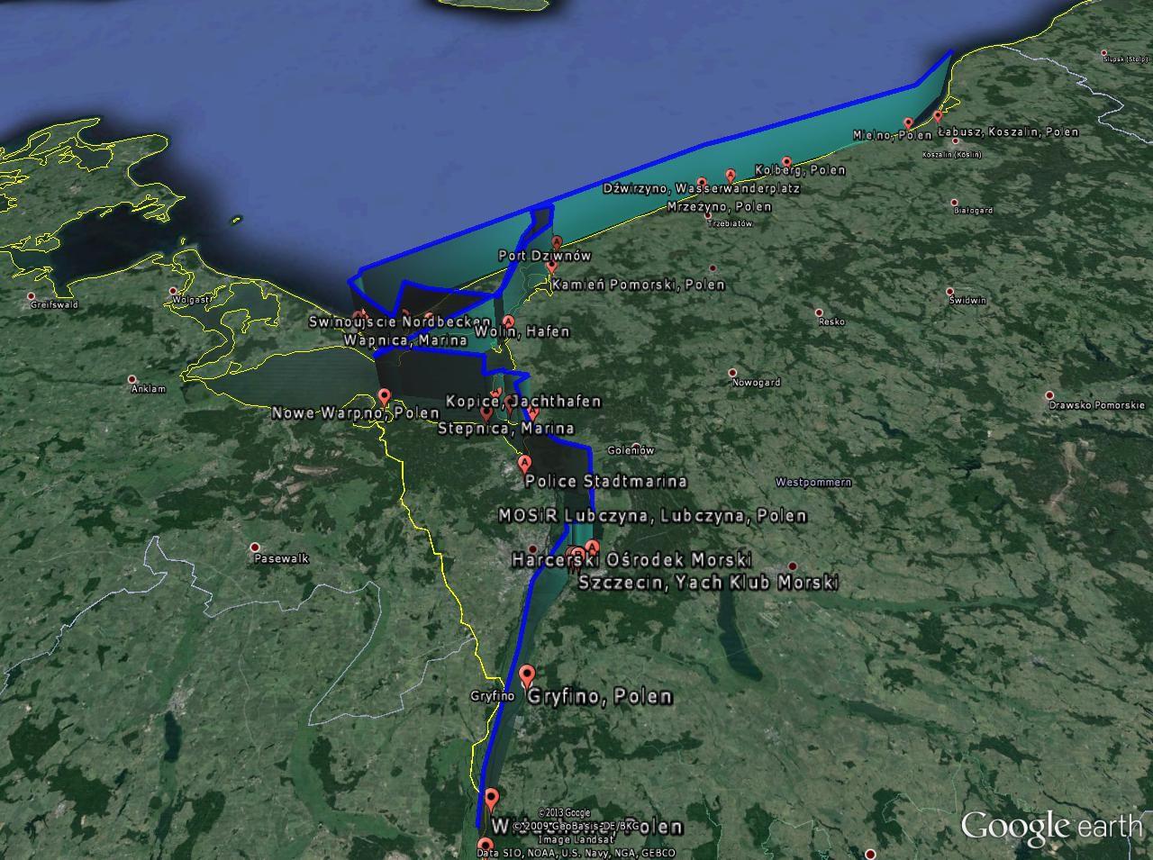 Das Revier Polnische Segelroute